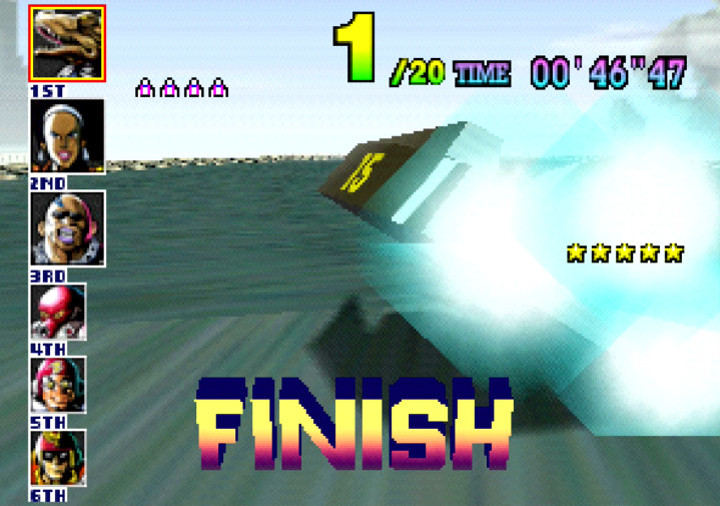 Coming first place in the Big Fang in F-Zero X for N64