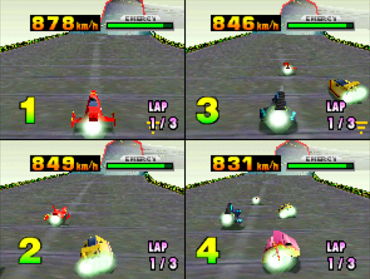 A four-player race in 1998 futuristic racing game, F-Zero X (N64)
