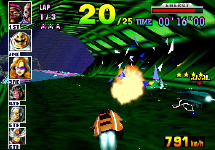 Things get hot as F-Zero machines zip through a tunnel at high speed in F-Zero X for N64.