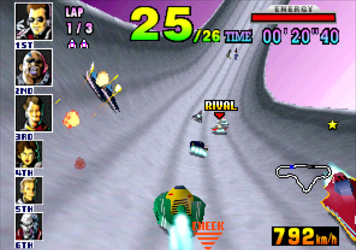 Racing along a half pipe in F-Zero X for Nintendo 64.