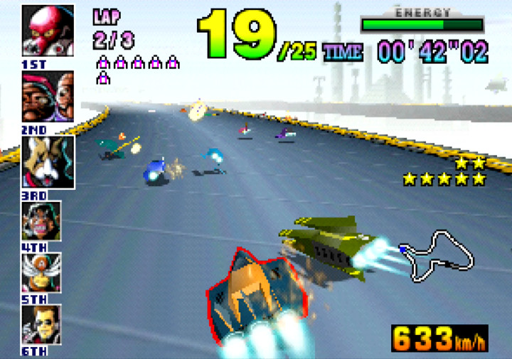 The Hyper Speeder barges an opponent in Nintendo 64 game F-Zero X.