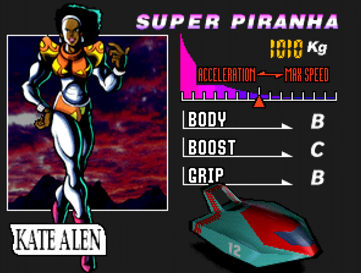 Kate Alen, pilot of the Super Piranha in F-Zero X for n64.