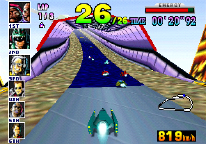 Zooming into a tunnel as the Mighty Hurricane in F-Zero X for N64.