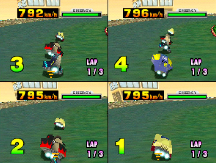 A split-screen multiplayer race in F-Zero X for Nintendo 64.