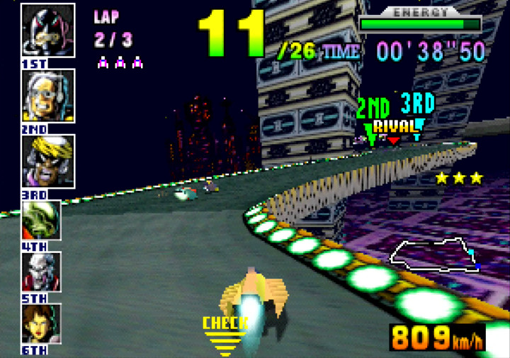 The meandering Mute City 2 race track from F-Zero X for N64