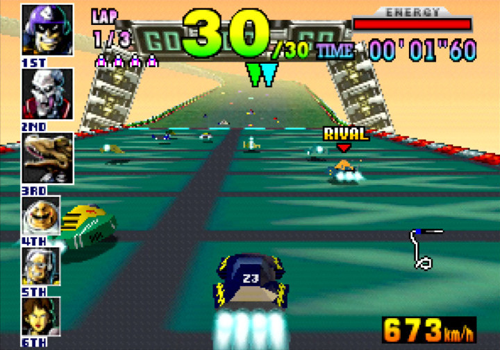 Starting a race in the Night Thunder in F-Zero X for N64