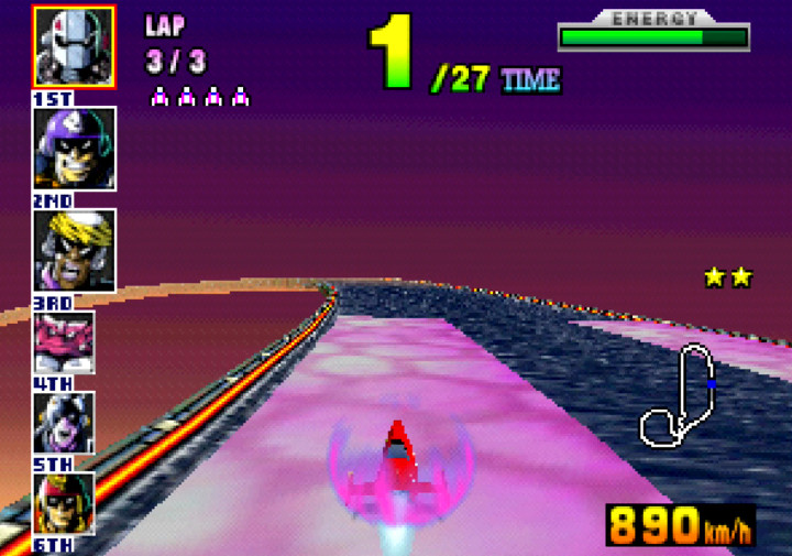 Recharging the Mighty Gazelle's energy using a pit lane in F-Zero X for N64