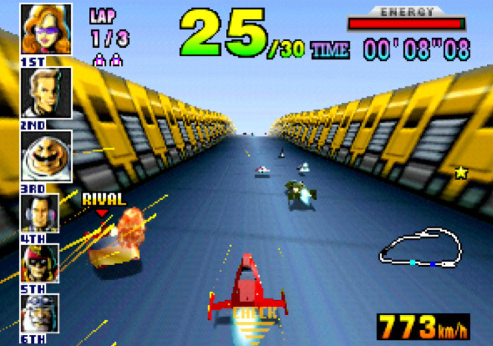 The Red Gazelle, piloted by the Mighty Gazelle in F-Zero X for N64.