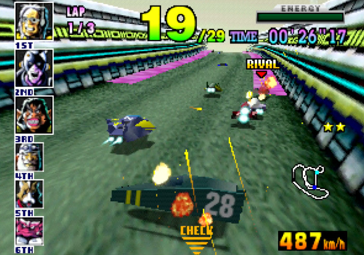 Crashing out and having to retire in F-Zero X for N64.