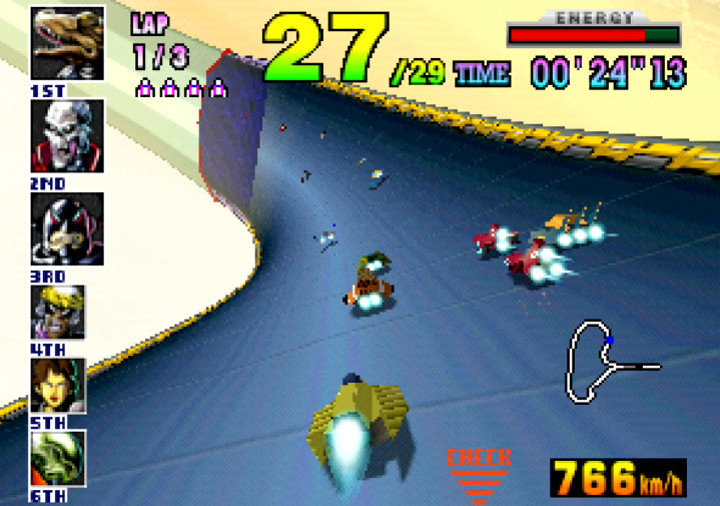 Racing with the pack on the Sector Alpha course in F-Zero X for N64