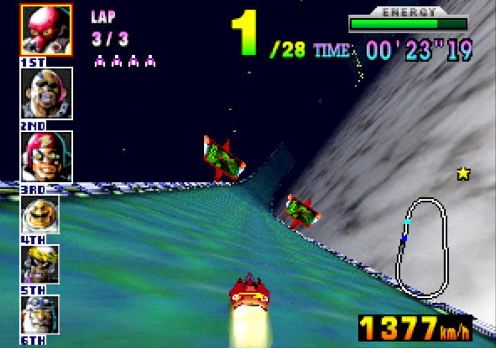 Driving faster than the speed of sound in the F-Zero X track Silence.