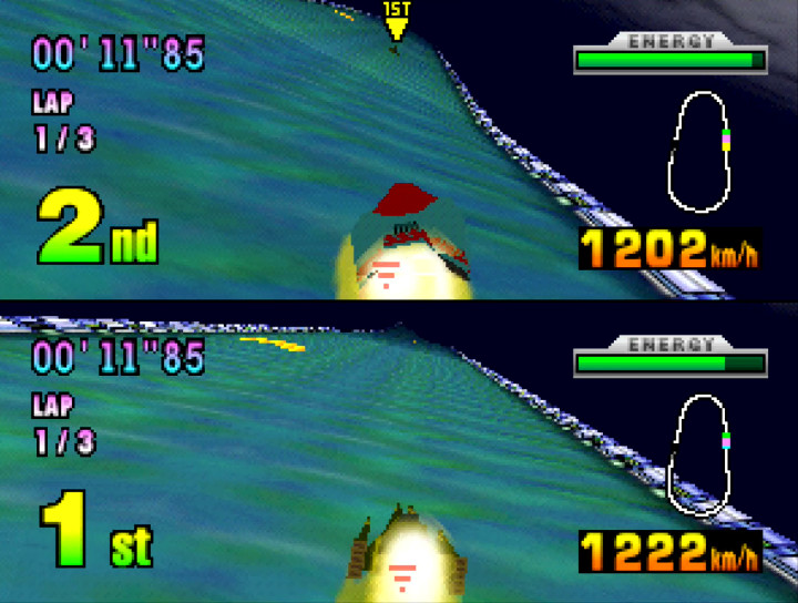 Two-player race on Silence track in F-Zero X for N64
