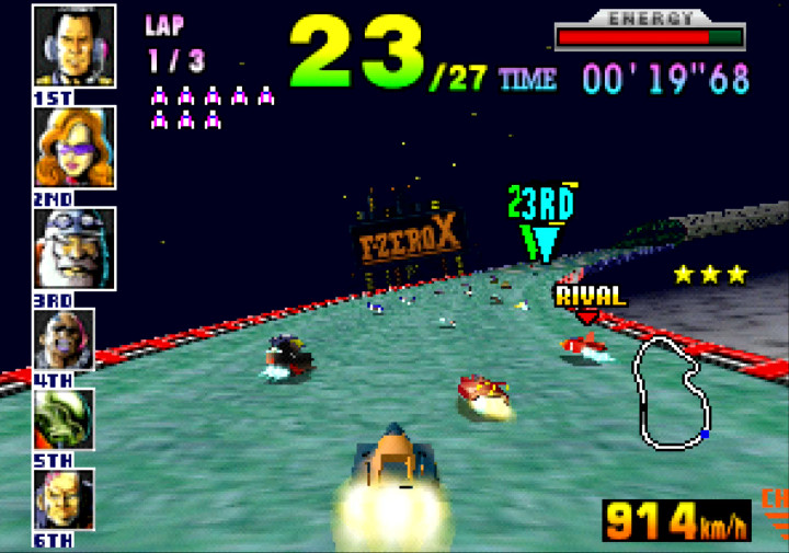 Racing on a random X Cup track in F-Zero X for N64.