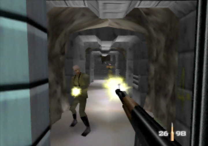 Firing at enemy guards with the KF7 Soviet in GoldenEye 007's Silo mission.