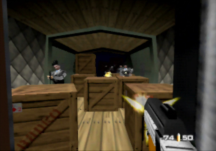 Using the RCP-90 on a train full of guards in N64 game GoldenEye 007.