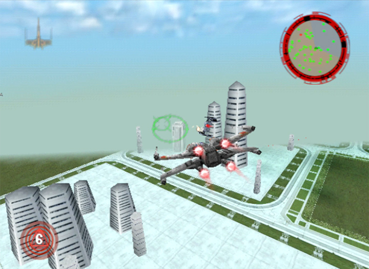 Shooting down a TIE Bomber in Star Wars: Rogue Squadron's Blockade on Chandrila mission