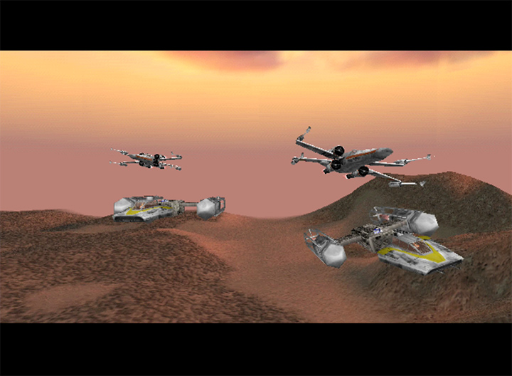 X-Wings and Y-Wings prepare to attack the Imperials on Gerrard V in Star Wars: Rogue Squadron for N64.