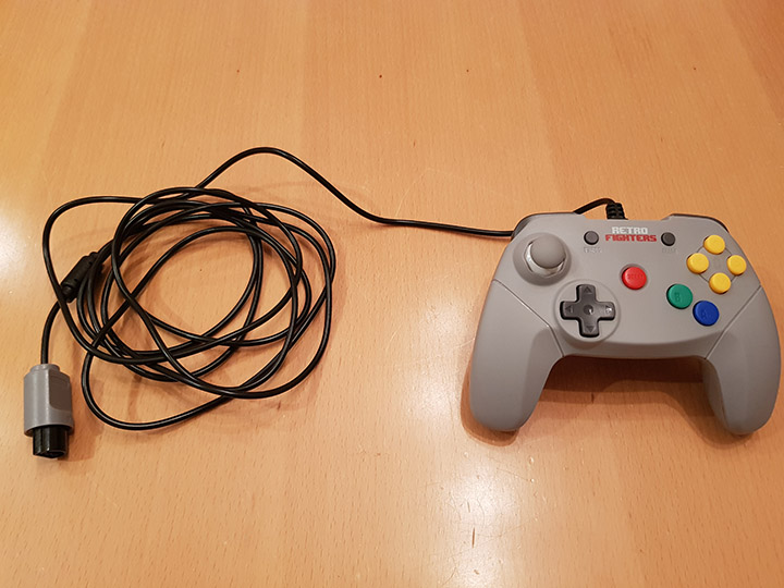 The extra long lead of the Brawler 64 controller