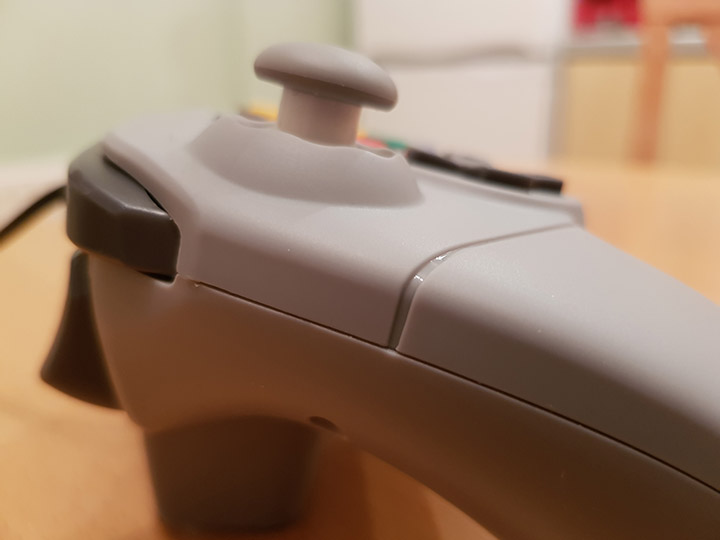 Close-up of the Brawler 64's thumbstick from the side