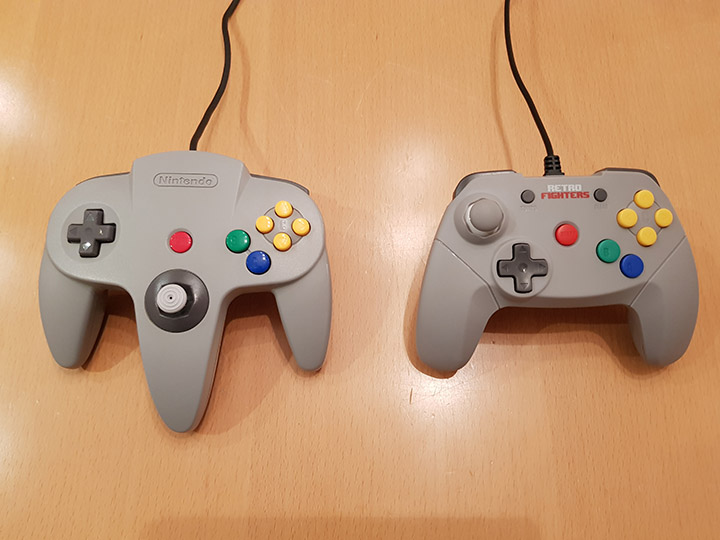 Comparison of the shape and size of the original N64 controller and the Retro Fighters Brawler 64 controller