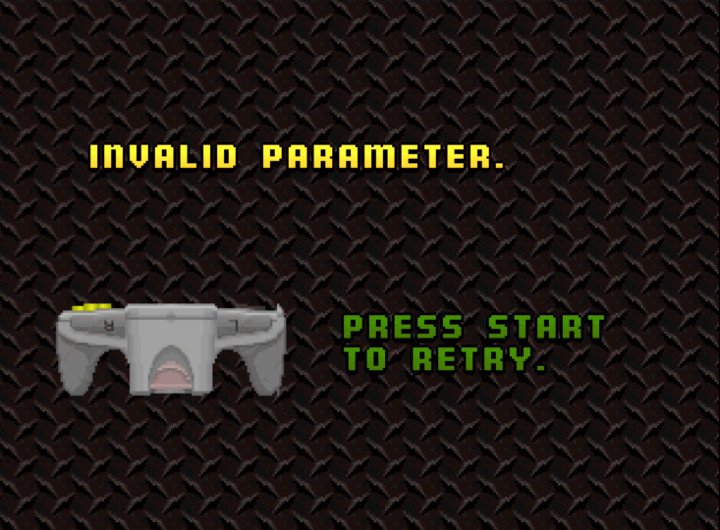 Warning message for Cruis'n USA when you try to play with a Rumble Pak inserted into the N64 controller.