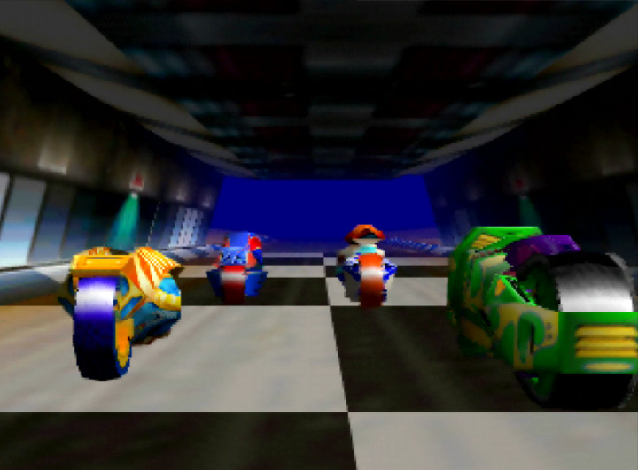 Plasma bikes lined up on the starting grid in Extreme-G for the N64.