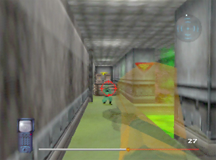 Shooting an enemy guard in the toxic waste underground section in Mission Impossible for N64.