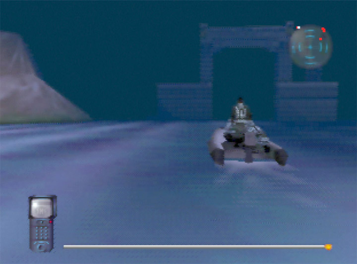 Approaching the subpen in a dinghy in Mission Impossible for the N64.