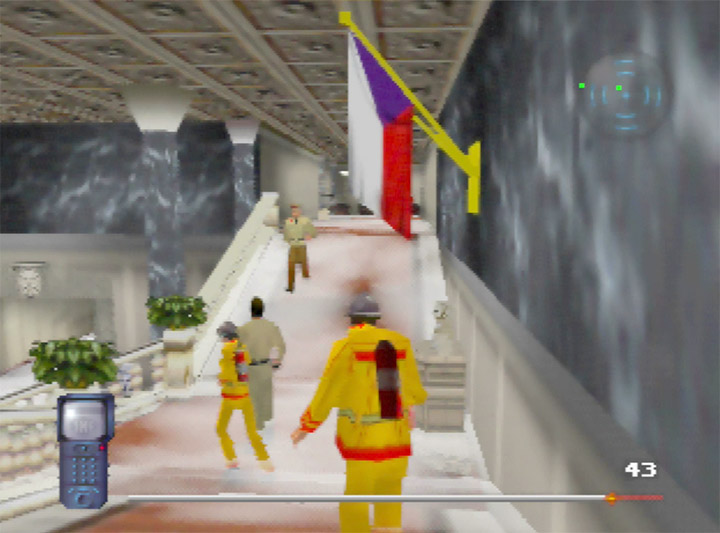 Disguised as a fireman in the embassy in Mission Impossible for the N64.