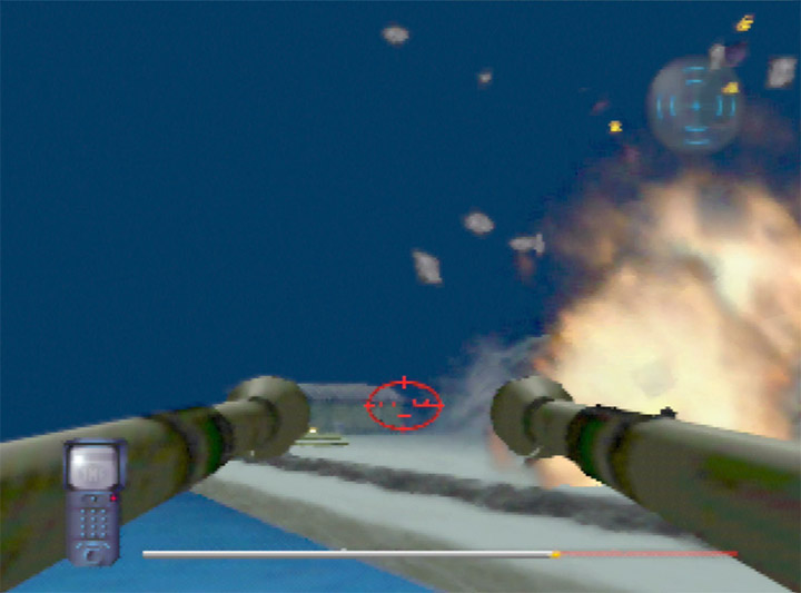 Using the gunboat in Mission Impossible's final mission on N64.