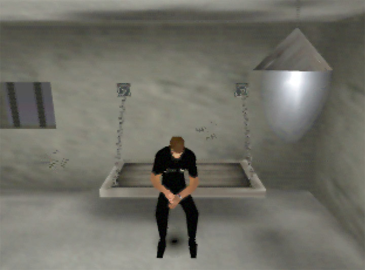 Ethan Hunt in prison after being caught in Mission Impossible for Nintendo 64.
