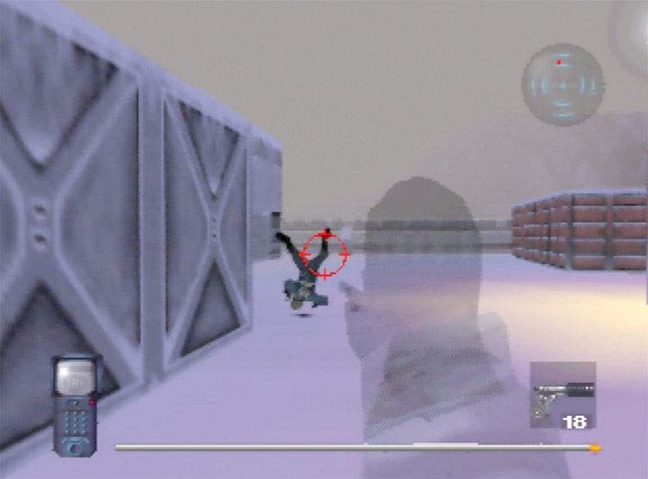 A guard backflips after getting shot in the face in Mission Impossible for N64.