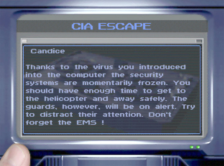 A very short briefing screen that lacks detail in N64 game Mission Impossible.