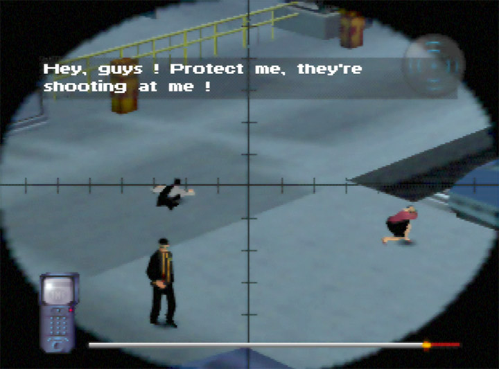 Using a sniper rifle in Mission Impossible for N64.