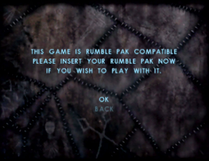 Message screen in Shadow Man for the N64 explaining that the player can swap the memory card for the Rumble Pak