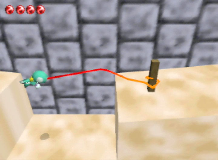 Using the tongue to cross a gap in Chameleon Twist - one of the most underrated N64 games.