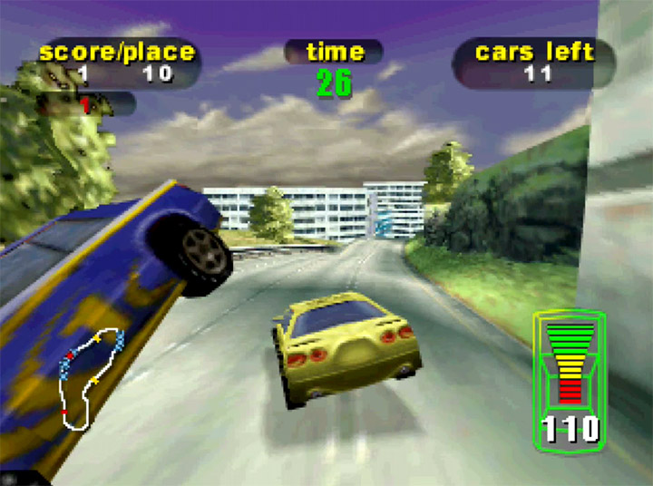 Smashing through a car in Destruction Derby 64 - one of the most underrated N64 games.