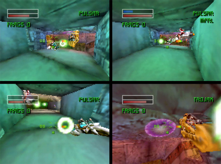 A four-player versus match in Forsaken 64 for the Nintendo 64.