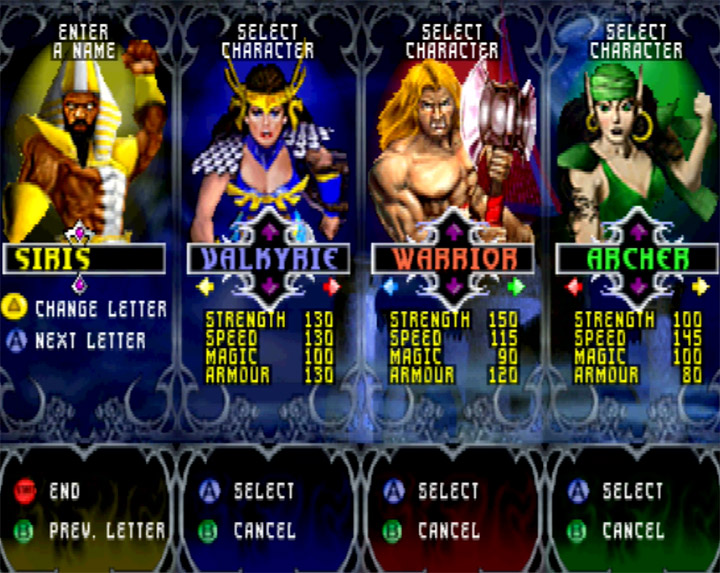 The character select screen in N64 game Gauntlet Legends
