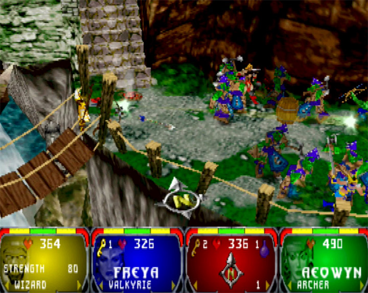 Four-player coop game in Gauntlet Legends for the Nintendo 64.