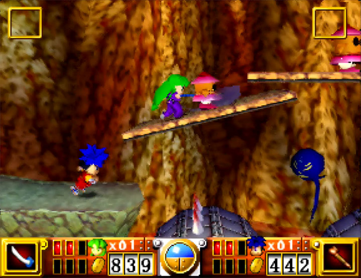 Playing Goemon's Great Adventure in two-player coop on the N64