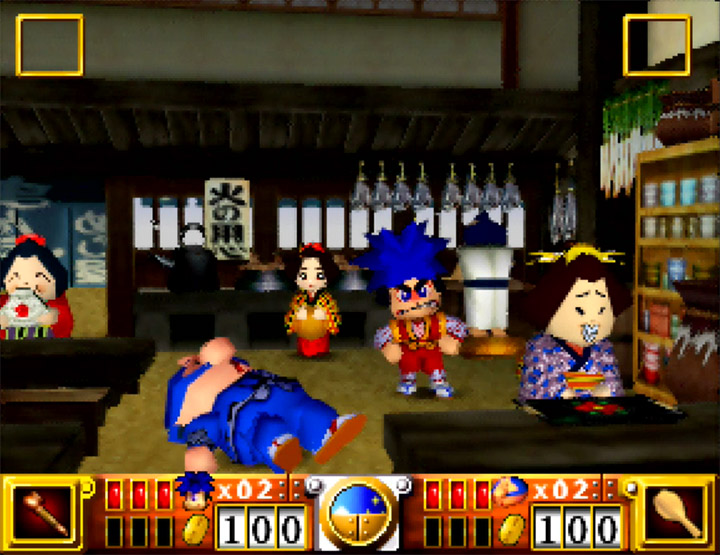 Goemon gets annoyed with a lazy Ebisumaru in Goemon's Great Adventure.