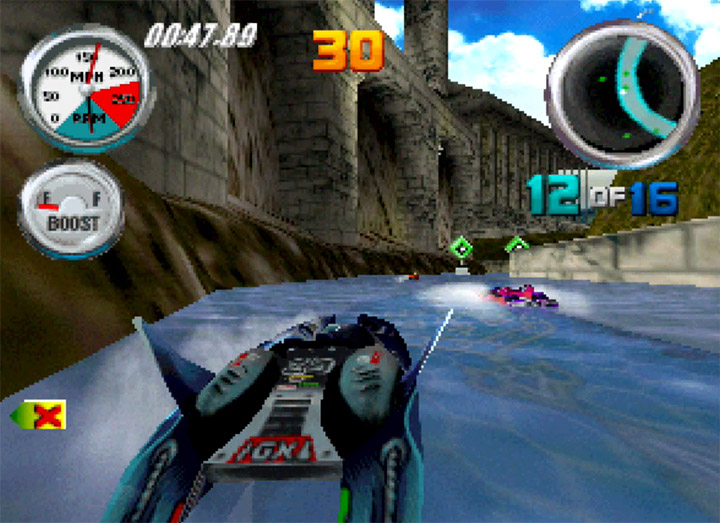 Racing around the Greek Isles in Hydro Thunder for the Nintendo 64.
