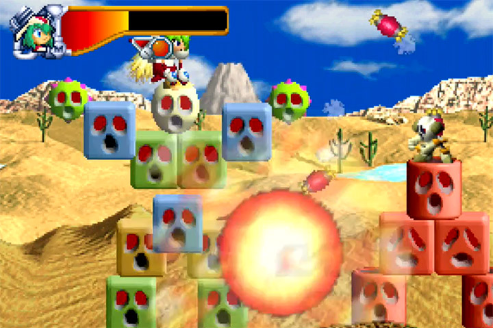 Marina controls Blockman to battle the Emperor's forces in Mischief Makers for the N64.