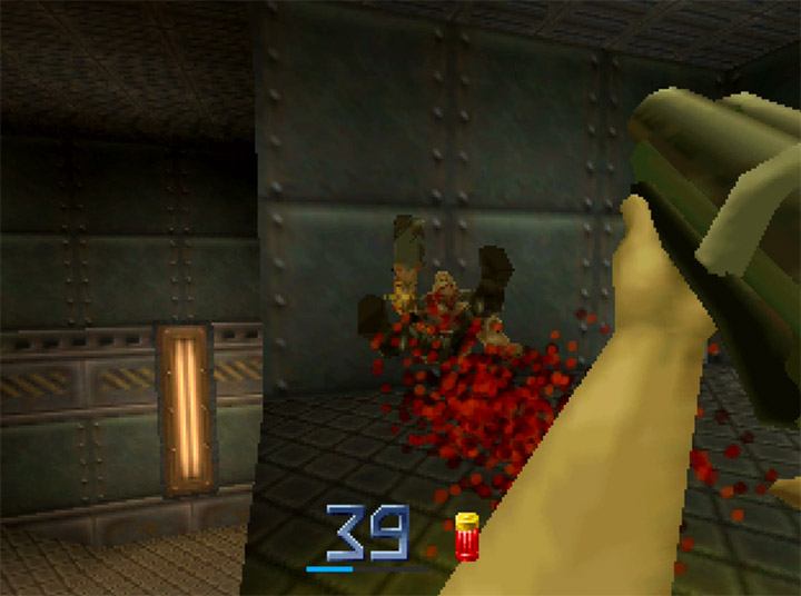 Blasting a Strogg with the auto shotgun in Quake II for the N64.