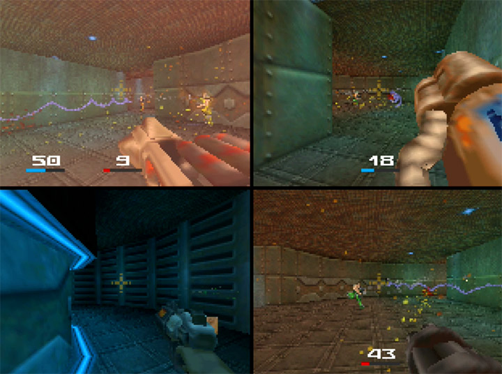Quake II split-screen multiplayer on the Nintendo 64.
