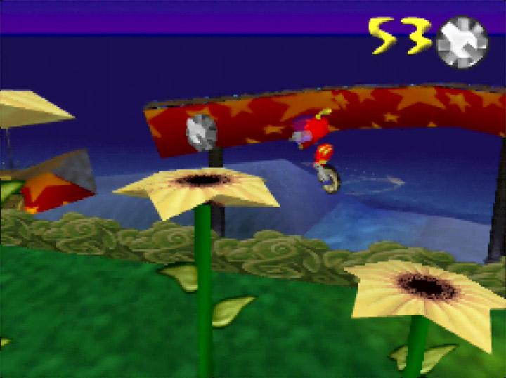 Jumping across large flowers in Rocket: Robot on Wheels for the N64