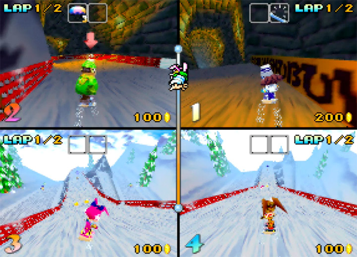 A four-player race in Snowboard Kids for the N64.