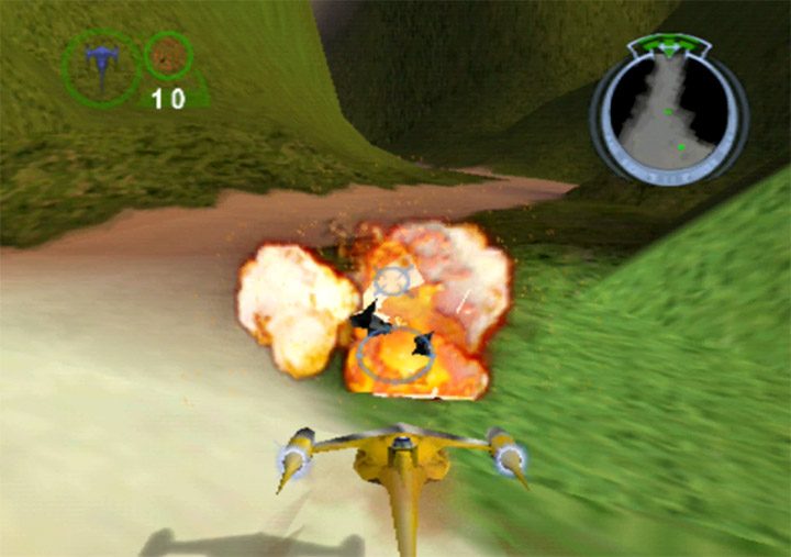 Destroying an AAT using the Naboo starfighter in Star Wars Episode 1: Battle for Naboo (N64 version)