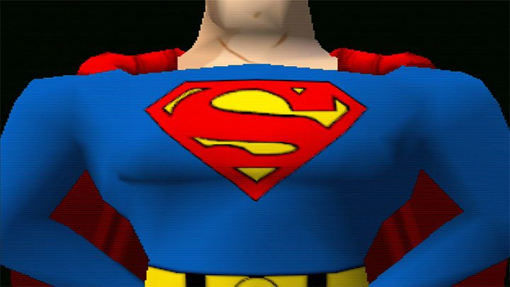 "The famous ""S"" emblem on Superman's chest in Superman 64"